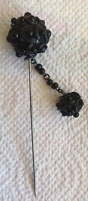Antique Victorian  Large Black VERY UNUSUAL BeaD Mourning Hat Pin