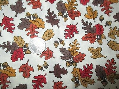 CRISP Vintage MULTI-COLOR AUTUMN LEAVES 1990's COTTON Fabric-over 1 yd