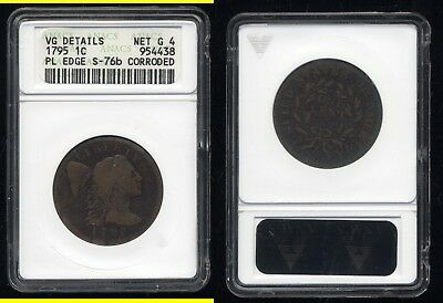 1795 Flowing Hair Plain Edge Large Cent- Anacs Vg Details- Net G4-Corroded-S76B