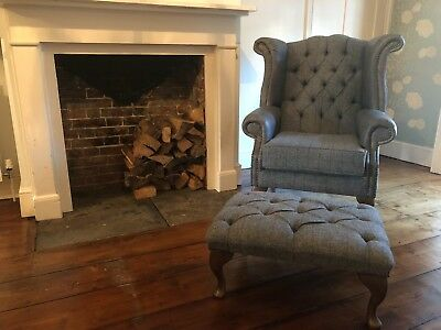 Chesterfield Queen Anne Wing Chair & Footstool in Grey Leather & Harris Tweed