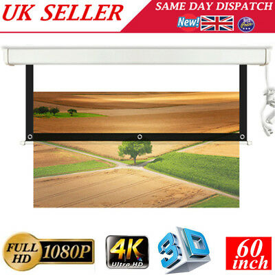"""60"""" Projector Projection Screen 16:9 White 1080P 4K 3D HD Home Cinema Theater UK"""