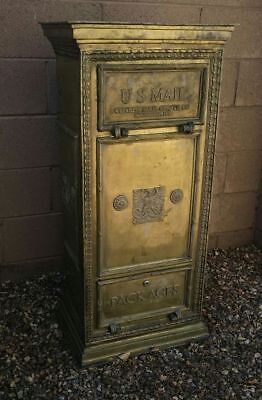 Vintage Solid Cast Brass US Mail Cutler Chute Free Standing Lobby Mailbox