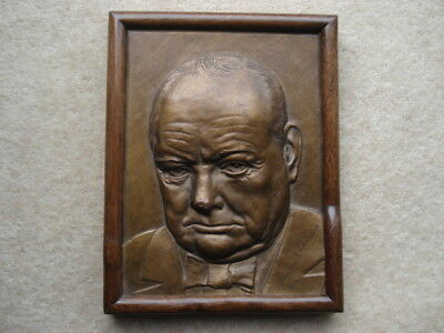 Rare 1944 Vintage Winston S.churchill Signed 3-D Type Picture In Wooden Frame