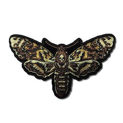 Embroidered Psycho Moth with Skull Sew or Iron on Patch Biker Patch