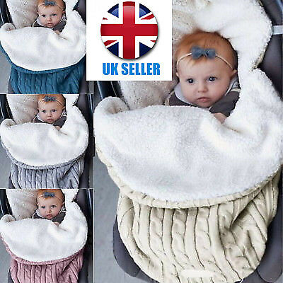 Baby Knit Crochet Swaddle Newborn Wrap Swaddling Blanket Warm Soft Sleeping Bag