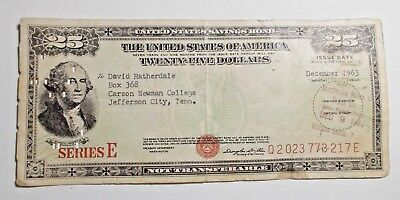 US Savings Bond $25 Carson Newman College Jefferson City TN Wachovia 1963 NR