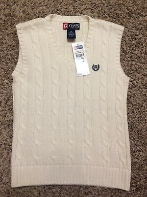 Chaps Boys Size 6 Ivory Cream Off White Cable Knit Sweater Vest New with Tags