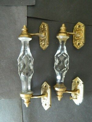 Pair of Vintage Door Handles Puller Transparent White Crystal Cut Glass Brass
