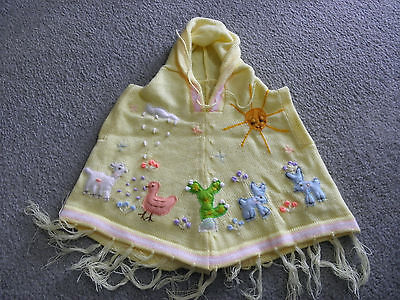 New Made In Peru Arpillera Poncho with Hood Size 12 - 16 Months Yellow #010439