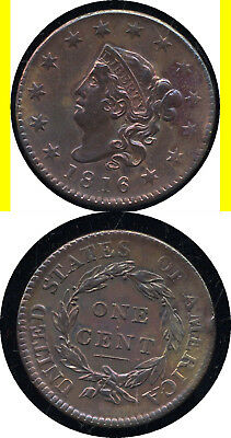 1816 Coronet Large Cent- High Grade- N-4- No Reserve