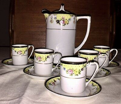 Noritake Vintage Demitasse Set Of Chocolate Pot And 5 Cups And Saucers