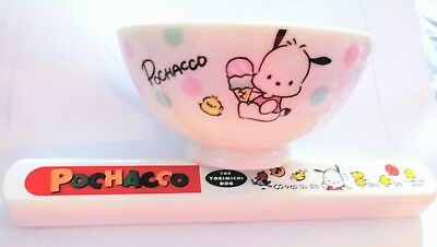 Pochacco Rice Bowl + Vintage Pochacco Chopsticks Sanrio Japan *NEW w/tags*