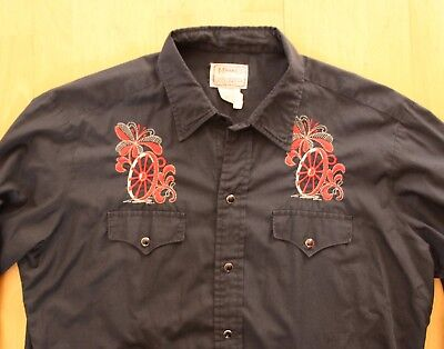 H Bar C Western Hemd bestickt *L* Vintage embroidered 70s Shirt  H BAR C