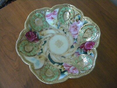 Vintage 3 footed hand painted bowl, Nippon, lots of gold beading