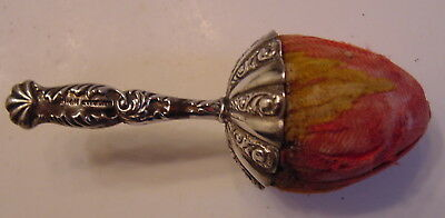 Rare Antique Sterling Silver Handled Top Strawberry Emery c.1900