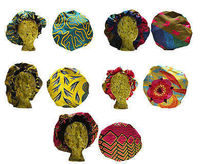 African Print Satin Lined Bonnets