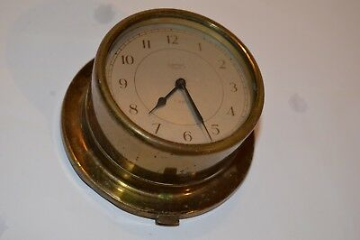 Vintage Smiths 8 Day 7 Jewels Brass Wind Up Ships Clock