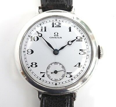 VINTAGE 1910's OMEGA SOLID SILVER TRENCH OFFICERS WATCH / WHITE PORCELAIN 33mm
