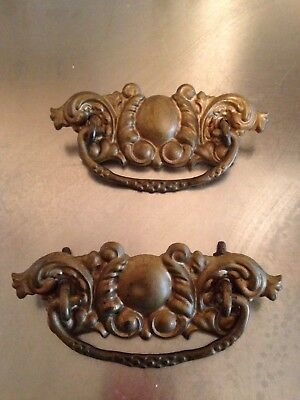 Set of 2 Matching Stamped Brass Victorian Drawer Pulls Embossed Metal Antique