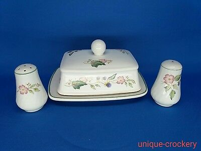 British Home Stores Victorian Rose Salt & Pepper Pots and Butter Dish