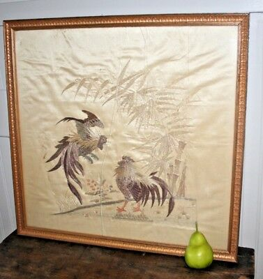 Antique Chinese Silk Embroidery Cock Fight Rooster Japanese Embroidered Panel #2