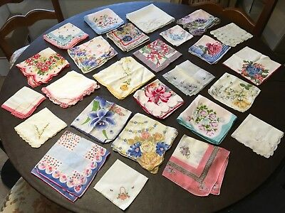 Vintage Lot Of 26 Beautiful Hankies, Many Floral, Crocheted & Embroidered Lot 1