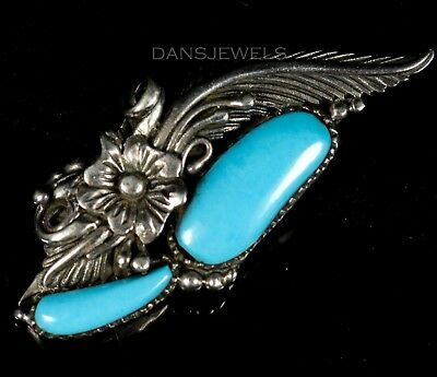 """Old Pawn Campitos TURQUOISE Vintage 2 1/4"""" Navajo Sterling Silver Pendant"""