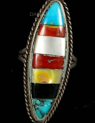 Long Old Pawn ZUNI TURQUOISE ONYX FLUSH Inlay Silver WOMENS Ring Sz 7.5