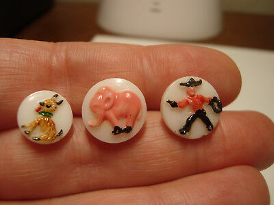 Antique Vintage LOT of 3 glass COWBOY, DOG and ELEPHANT buttons
