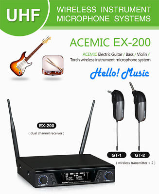 NEW Professional UHF Wireless Microphone System DUAL Guitar Bass Violin Portable