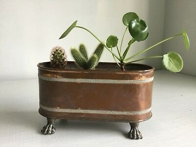 Vintage Copper Planter Plant Pot Trough Brass Lion Feet Handles Succulent Cactus