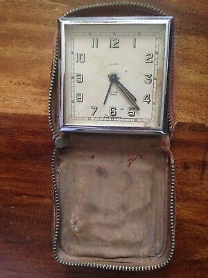 "Antique ""SMITHS"" Deluxe 8 Day Travelling Alarm Clock In Brown Leather Case"