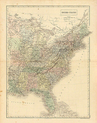 ANTIQUE 19thC 1848 HandColored MAP UNITED STATES (EASTERN) Black's General Atlas