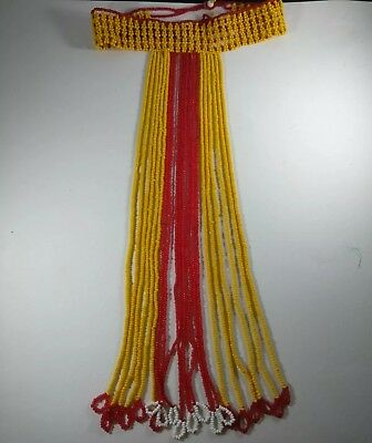 Apache Beaded T Necklace Yellow Red White Collar glass seed beads Excellent Cond