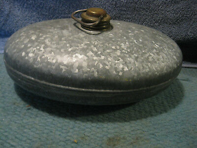 Antique Foot Warmer Galvanized Metal Brass Cap Bed Buggy Old Amish Oval Vintage