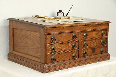 Victorian Antique Oak Spool Cabinet Jewelry or Collector Chest #29932