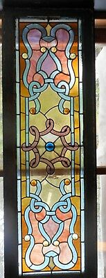 """Antique Victorian Leaded Stained Glass Window from 1880s 16"""" x 48"""" Pink, Blue"""