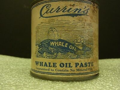 Vintage Currin's Whale Oil Paste For Shoes Paper Label Tin W.contents 3 X 2 3/4