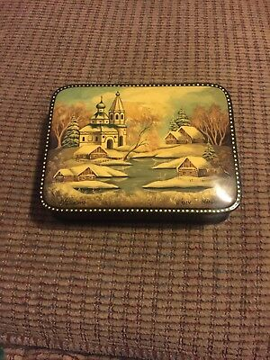 Hand Painted Russian Lacquer Box Signed