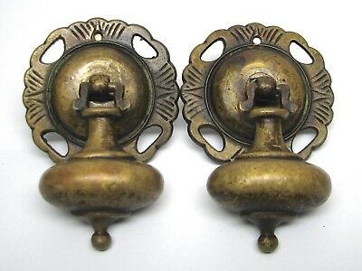 Furniture Hardware Vintage Dangling Drawer Pulls Solid Brass Teardrop Eastlake