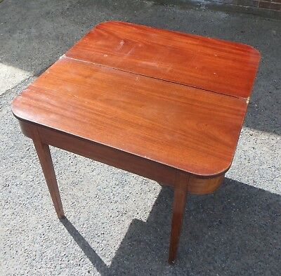George III antique solid Cuban mahogany inlaid foldover console hall card table