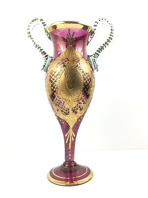 Antique Moser Amethyst Jewel Art-Glass Clear Double Handle Vase Ornate Bohemian