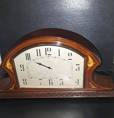 Vintage Germany Schatz 8 day Inlaid  mother of pearl and marquetry Mantle Clock