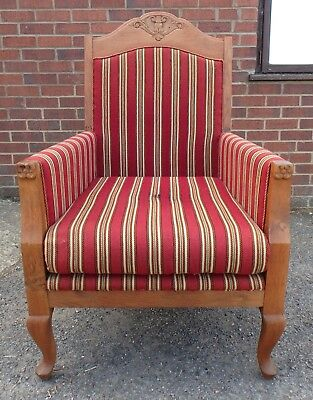 Victorian antique Arts Crafts solid carved oak library fireside striped armchair