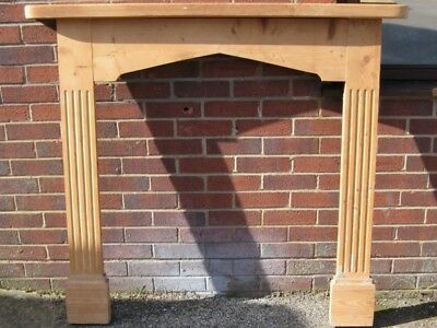 Antique George III style reeded carved solid pine fireplace mantel surround