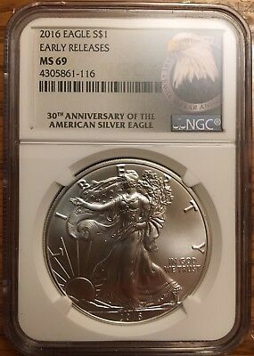 2016 american eagle silver dollar MS69 NGC Early Release
