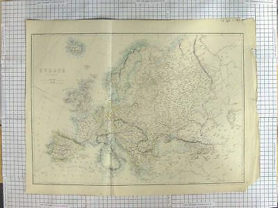 Original Old Antique Print Map C1870 Europe France Germany Italy France 19th