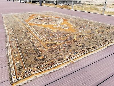 "Masterpiece Antique Cr1930-1939s Wool Pile 5'9""× 9'9"" Saffron Dye Oushak  Rug"