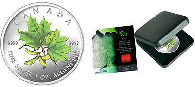 2002 Colorized Silver Maple Leaf 1oz .9999 Fine (Summer-Green) (10547)