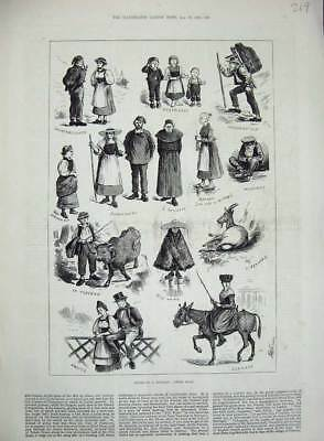 Old Antique Print 1883 Swiss Folk Tourist Alp Goat Wengern People Horse 19th